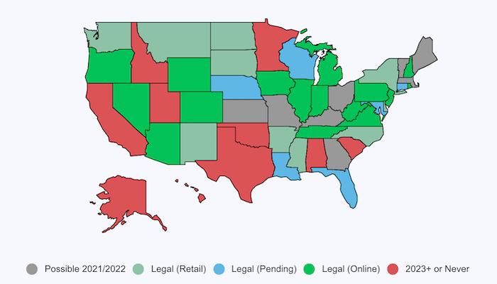 アメリカのスポーツベッティング解禁(合法化)した州まとめマップ