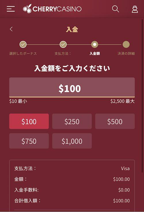チェリーカジノの入金方法3
