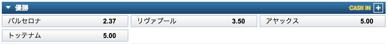 チャンピオンズリーグ2018-19優勝予想オッズ(ベスト4決定時点)