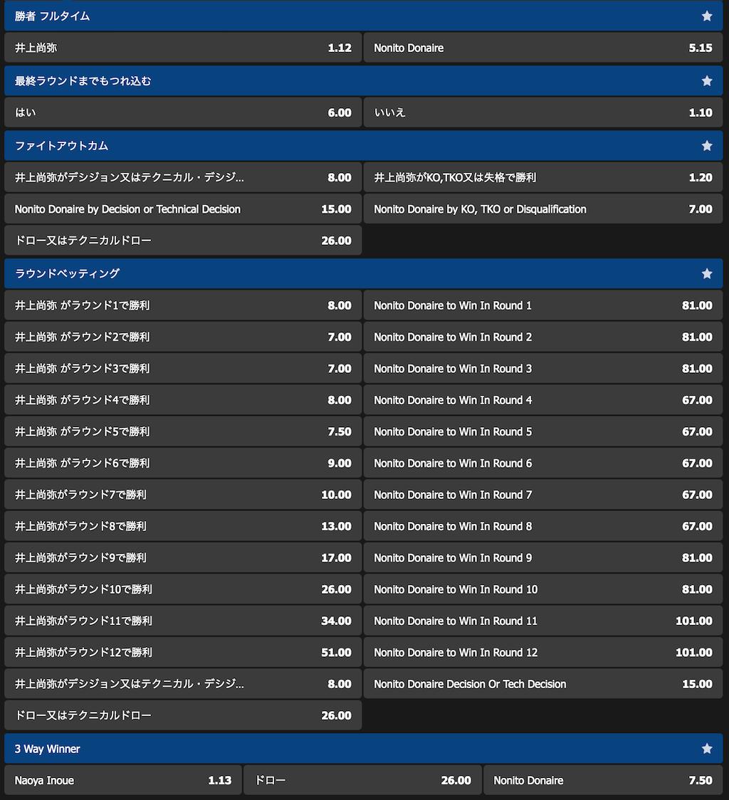 ブックメーカー10betJapanのWBSSバンタム級決勝『井上尚弥vsノニト・ドネア』の勝敗予想オッズ