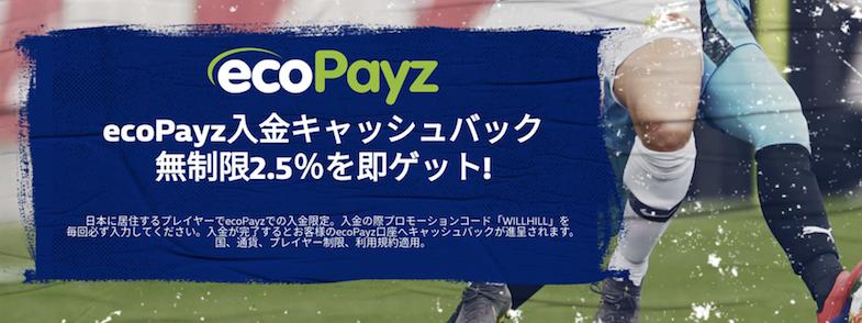 ウィリアムヒル(William Hill)とエコペイズ(Ecopayz)の入金キャッシュバック