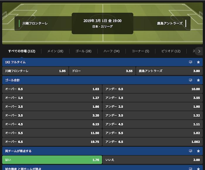10bet JapanのJリーグ関連の予想オッズ