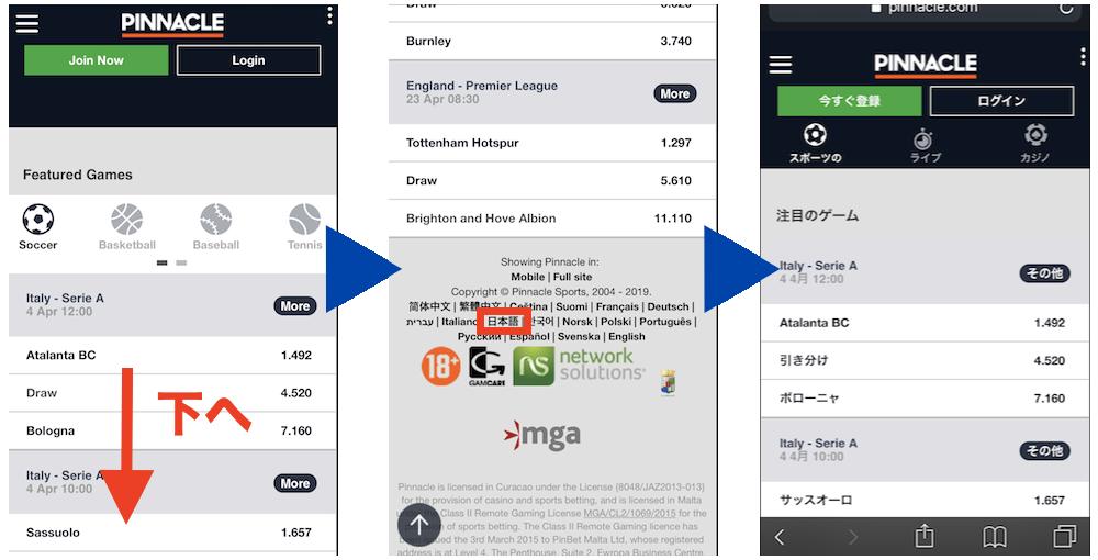 ピナクルのモバイル版ページの日本語化手順