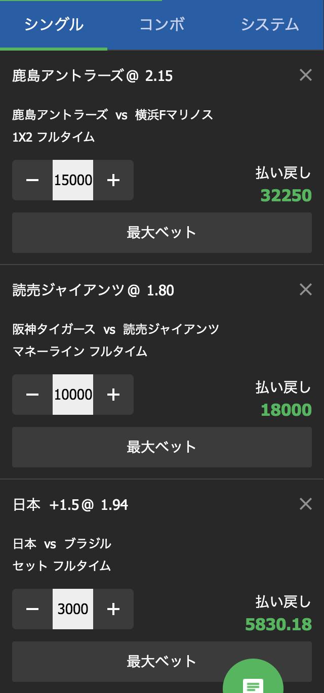 10ベットジャパンの賭け方例