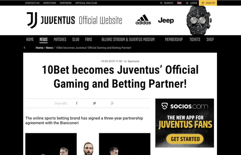 10betがJuventusと提携(ユヴェントス公式サイトニュース)