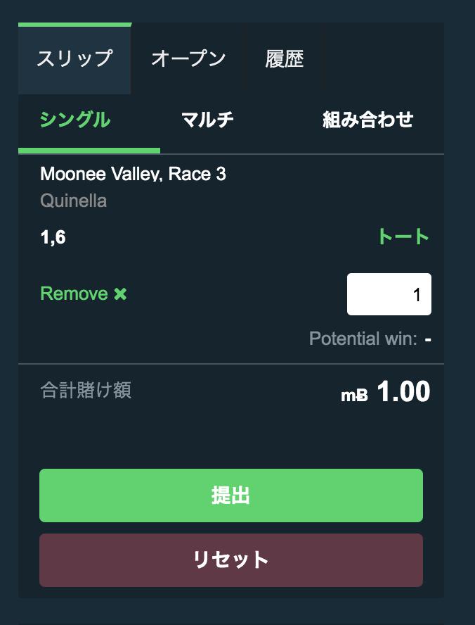 スポーツベットioの競馬(馬連:Tote)の賭け方4