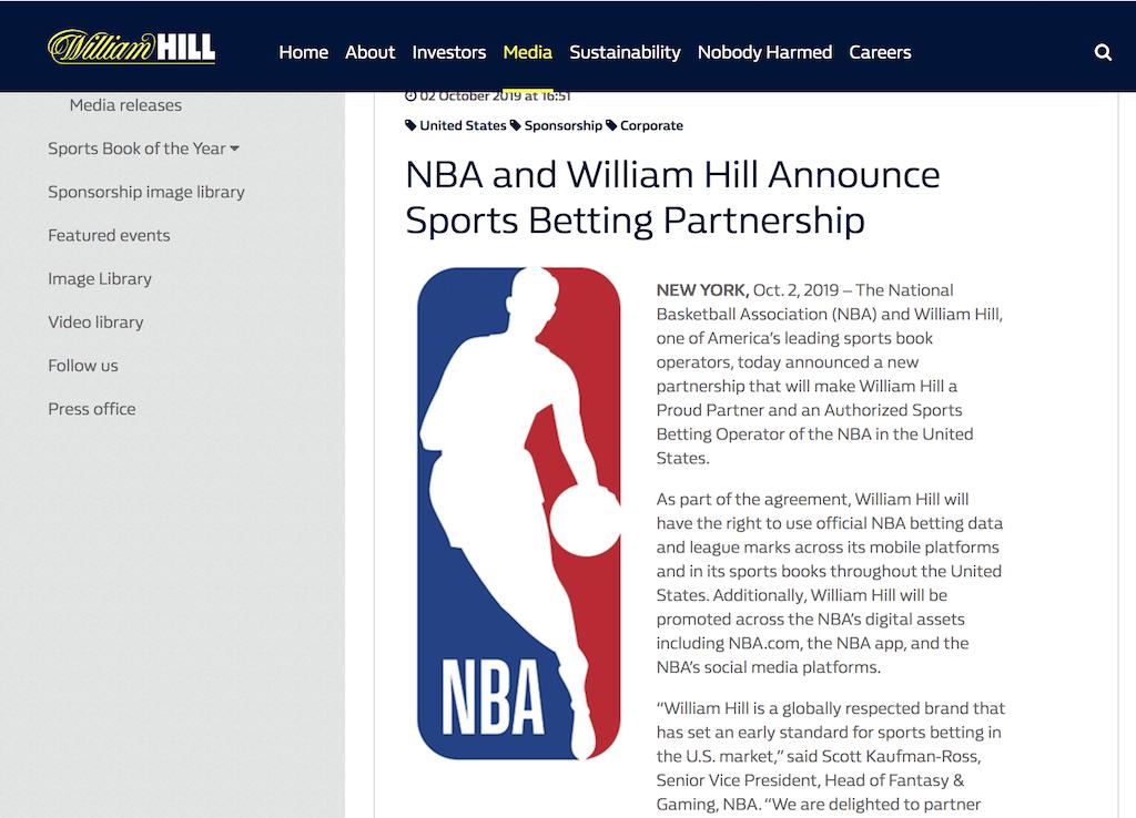 ウィリアムヒルがNBAとパートナー契約