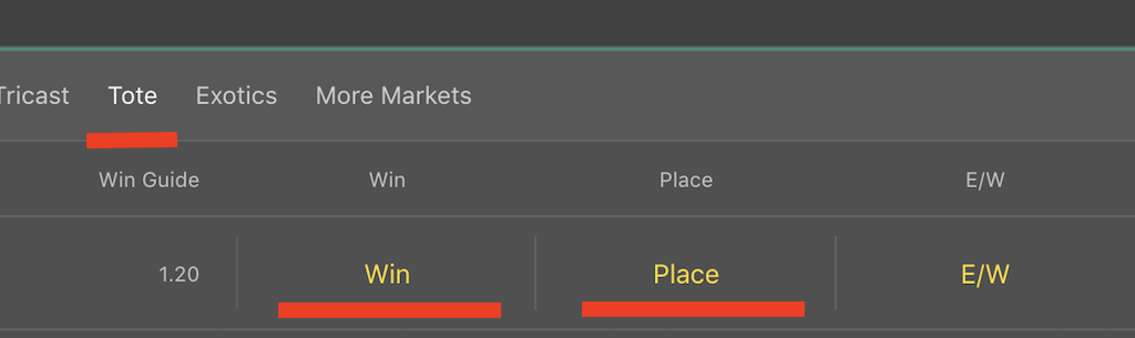 bet365のtoteのwinとplace