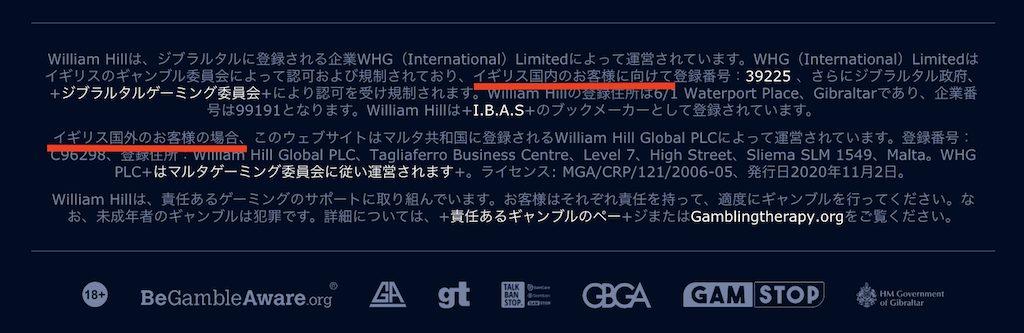 ウィリアムヒルの営業許可ライセンス